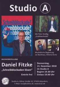 Plakat Daniel Fitzke Schreibblockaden lösen 13.12.2018